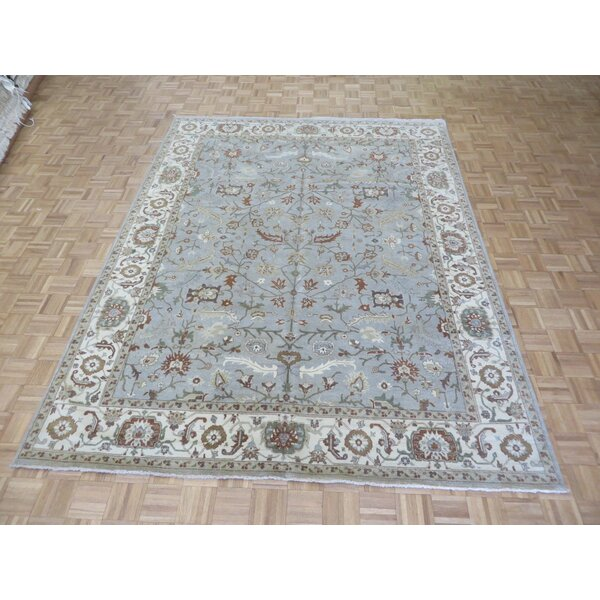 One-of-a-Kind Railsback Oushak Hand-Knotted Wool Sky Blue Area Rug by Astoria Grand