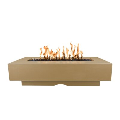 "The Outdoor Plus Del Mar Concrete Fire Pit Table  Finish: Brown, Size: 15"" H x 96"" W x 28"" D, Fuel Type: Propane"