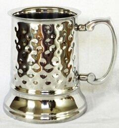 Marlee Tankard Beer Hammered 16 oz. Stainless Steel Mugs by Charlton Home