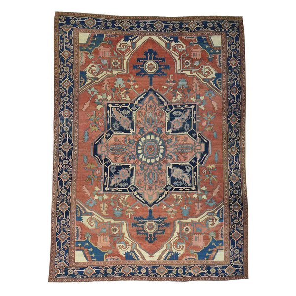 One-of-a-Kind Killough Hand-Knotted Orange/Blue 10'10 x 14'10 Wool Area Rug