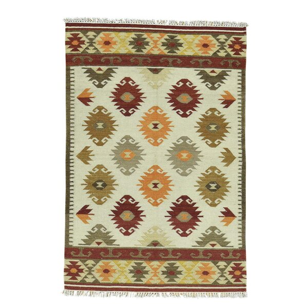 Anatolian Kilim Flat Weave Oriental Hand-Knotted Beige Area Rug by Bloomsbury Market