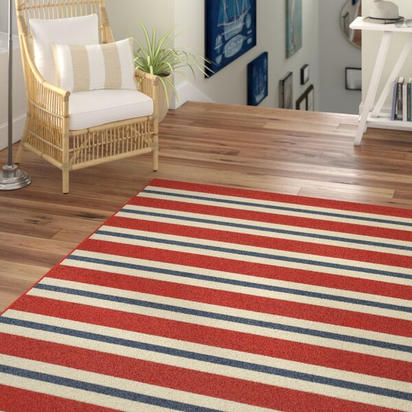 Kailani Red/White Indoor/Outdoor Area Rug by Beachcrest Home