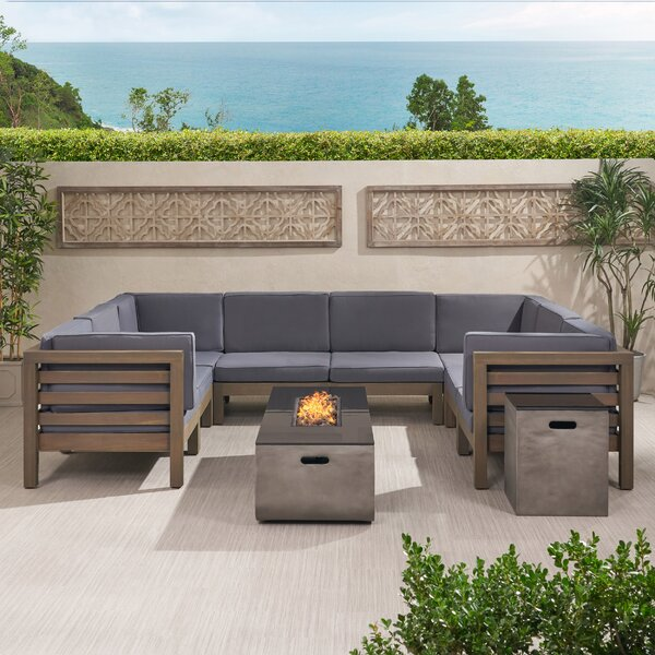Parquetoutdoor 8 Seater Acacia Wood Sectional Sofa Set With Fire Pit And Tank Holder by Foundry Select