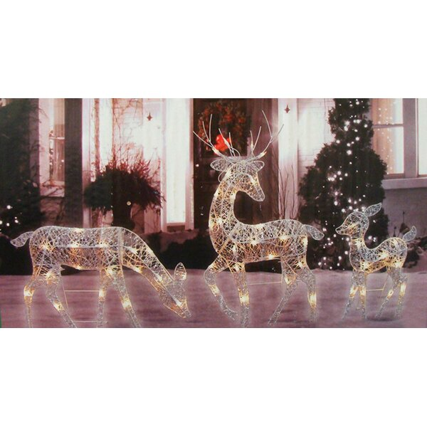 3 Piece Glittered Doe Fawn and Reindeer Lighted Christmas Figurine Set by Three Posts