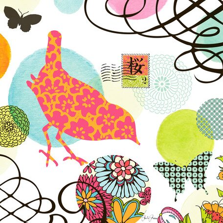Bird Postage Stamp Canvas Art by Oopsy Daisy