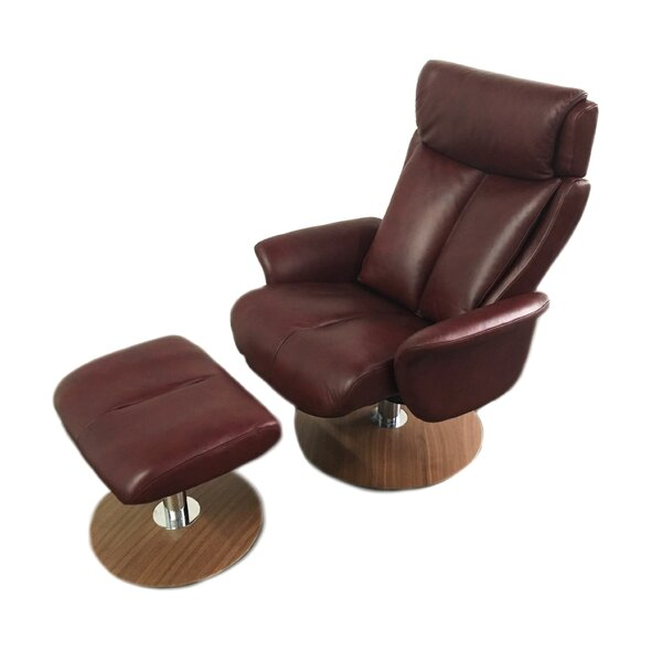 Sapphire Leather Manual Swivel Recliner with Ottoman by World Source Design