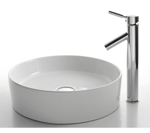 Ceramic Ceramic Circular Vessel Bathroom Sink with Faucet by Kraus