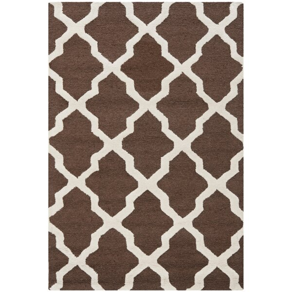 Charlenne Hand-Tufted Wool Dark Brown/Ivory Area Rug by Zipcode Design