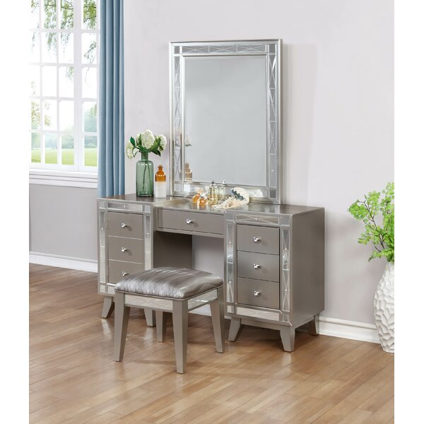 Alessia Vanity Set with Stool by Willa Arlo Interiors Willa Arlo Interiors