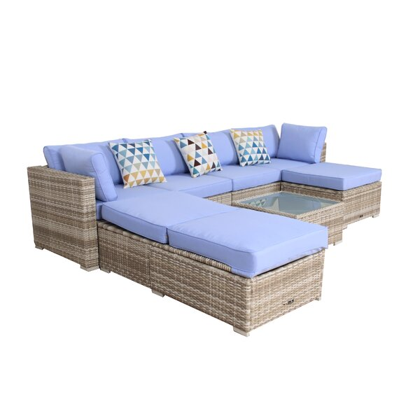 Wooley 7 Piece Rattan Sectional Set with Cushions by Highland Dunes Highland Dunes