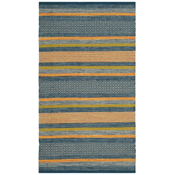 Gaillard Hand-Woven Blue/Orange Area Rug by Brayden Studio