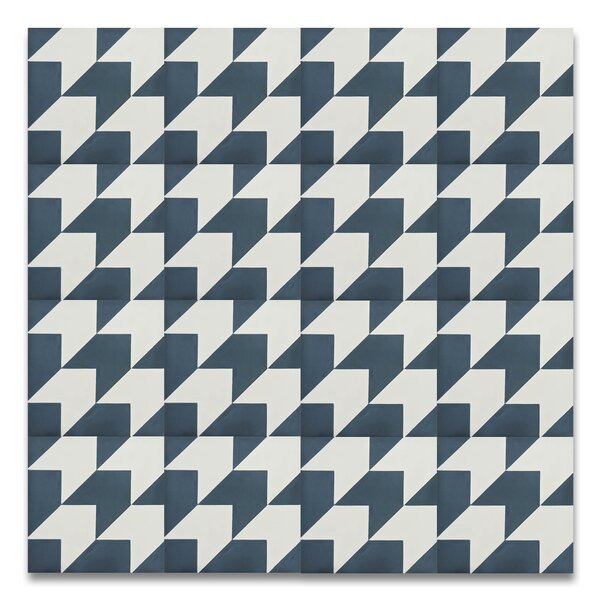 Oujda 8 x 8Handmade  Cement Tile in Blue/White by Moroccan Mosaic