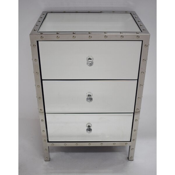 Roland Mirror 3 Drawer Nightstand by Everly Quinn