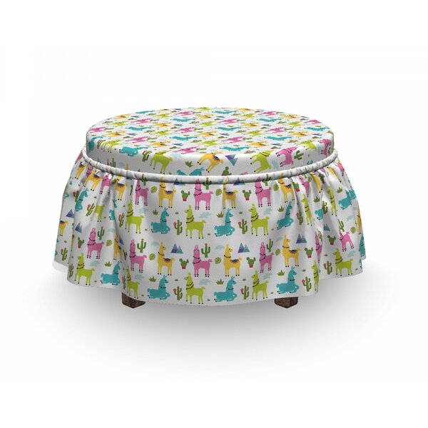 Alpaca Mountain And Cactus Ottoman Slipcover (Set Of 2) By East Urban Home