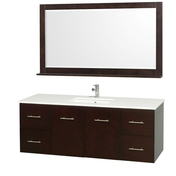 Centra 60 Single Espresso Bathroom Vanity Set with Mirror by Wyndham Collection