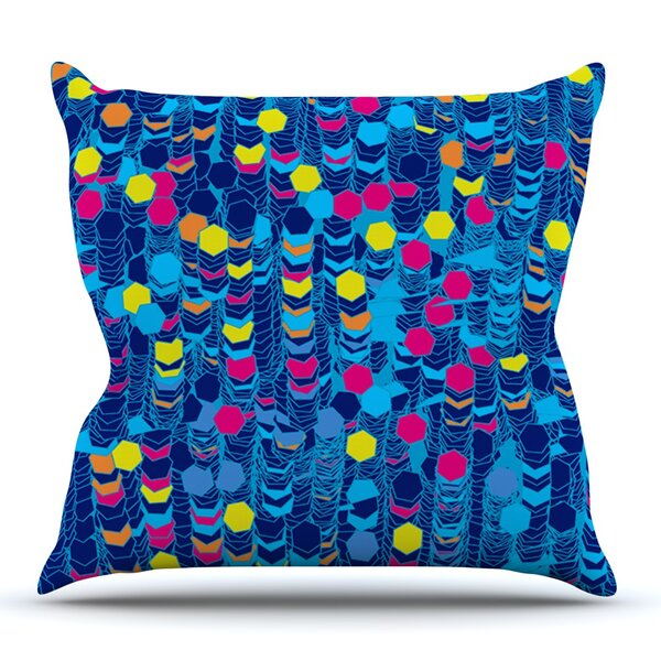 Color Hiving Blue by Frederic Levy-Hadida Outdoor Throw Pillow by East Urban Home