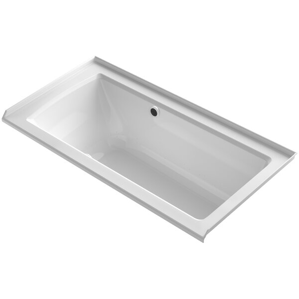 Archer Alcove BubbleMassage™ Air Bath with Tile Flange, Right-Hand Drain and Bask Heated Surface by Kohler