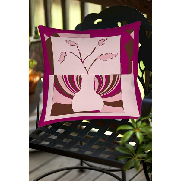 Minimalist Flowers 1 Indoor/Outdoor Throw Pillow by Manual Woodworkers & Weavers