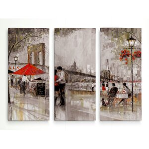 'New York Romance' Acrylic Painting Print Multi-Piece Image on Wrapped Canvas by Red Barrel Studio