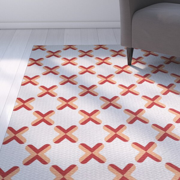 Abbie Orange Indoor/Outdoor Area Rug by Ebern Designs