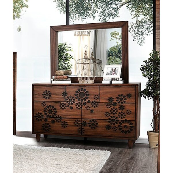 Turco 7 Drawer Double Dresser with Mirror by Canora Grey