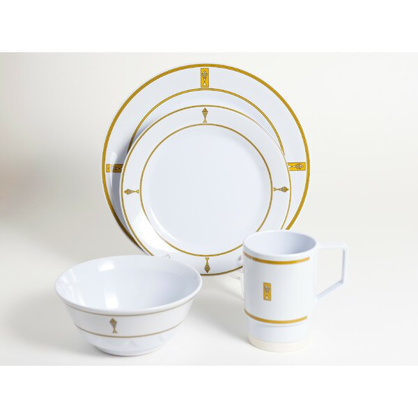 Decorated Fish Melamine 16 Piece Dinnerware Set, Service for 4 by Galleyware Company