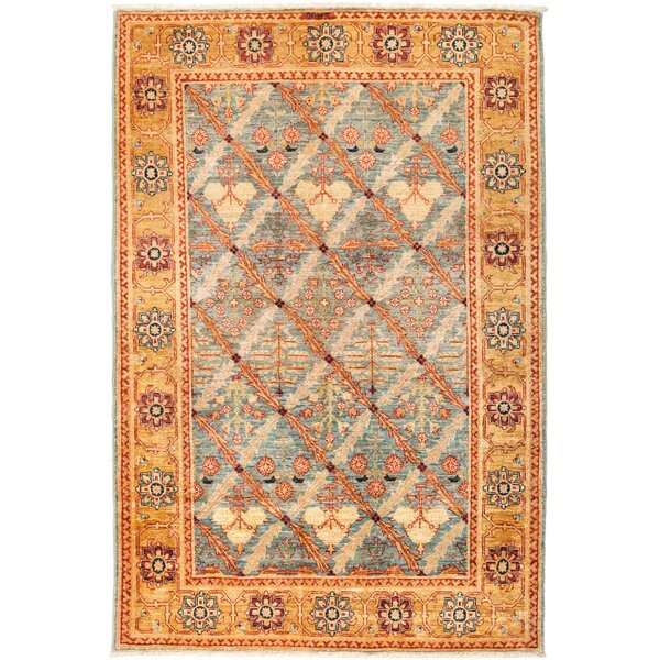 One-of-a-Kind Heimbach Hand Knotted Wool Orange Area Rug by Bloomsbury Market