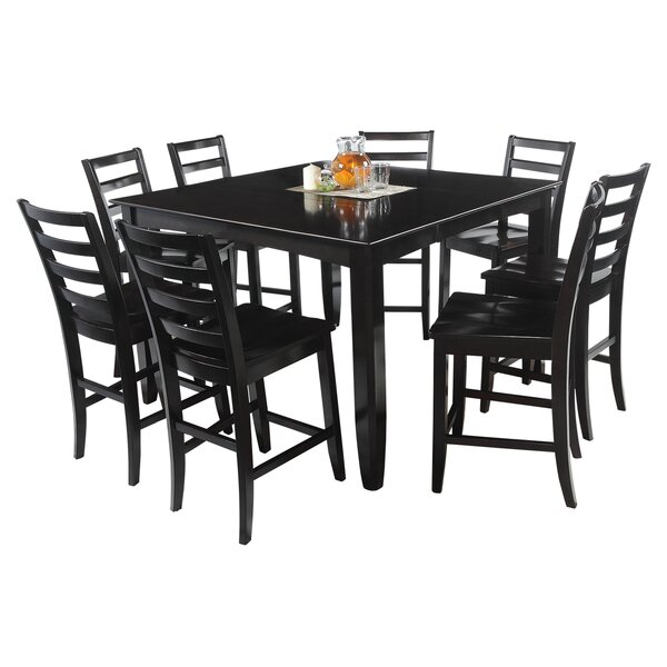 Palm Springs 9 Piece Counter Height Solid Wood Dining Set by Loon Peak