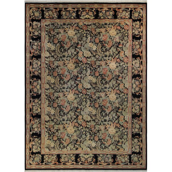 Bellomy Abusson Hand-Knotted Wool Black/Blue Area Rug by Astoria Grand