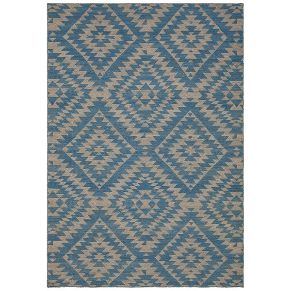 Jones Hand-Woven Wool Blue/Beige Area Rug by Union Rustic