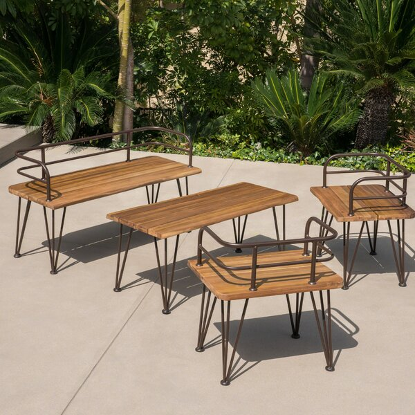 Hansell Outdoor Industrial 4 Piece Deep Seating Group with Cushion by Williston Forge