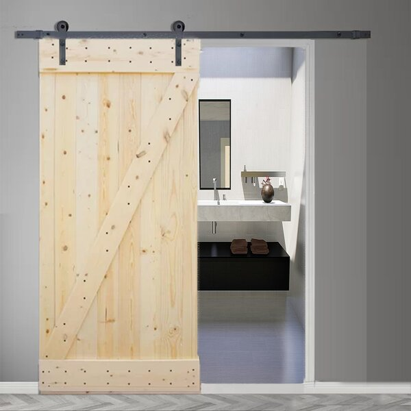 Natural Knotty Pine Solid Wood Room Dividers Slab Door by TMS