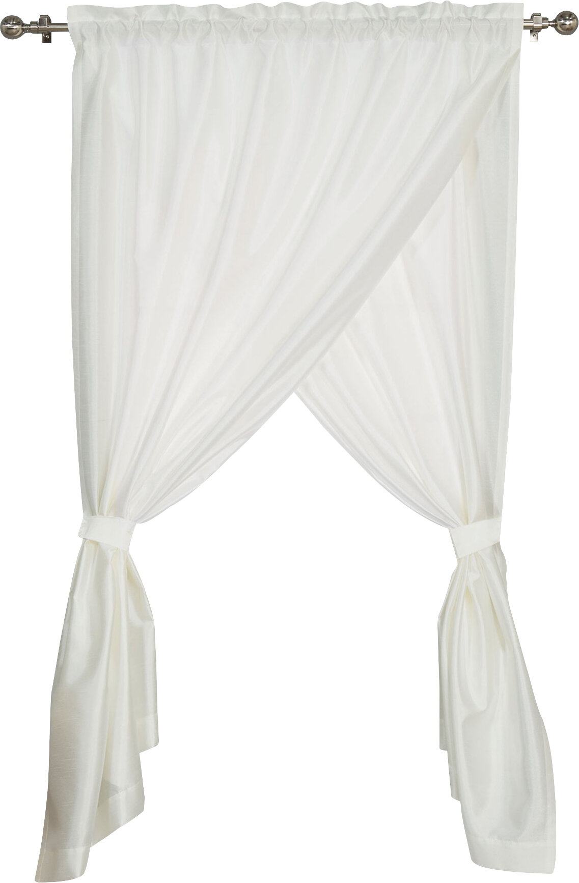 Best Home Fashion Inc Olivia Overlap Solid Semi Sheer Rod Pocket Single Curtain Panel Reviews