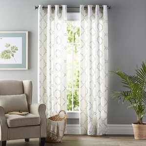 white living room curtains. Winnett Geometric Semi Sheer Grommet Single Curtain Panel Curtains  Drapes You ll Love Wayfair