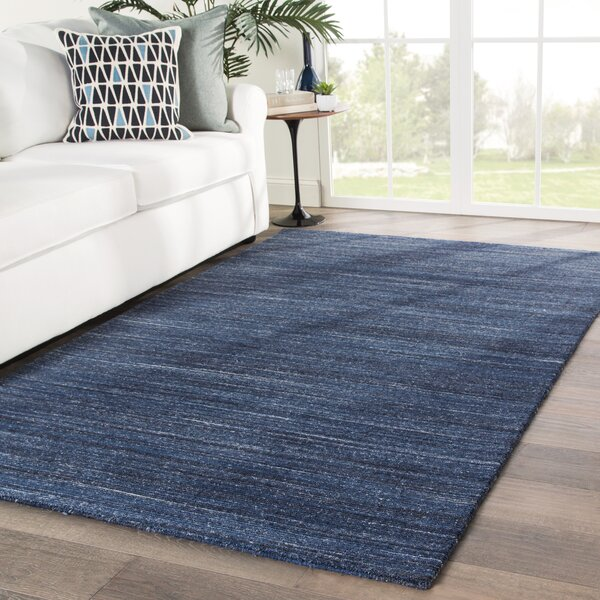 Schmit Hand-Loomed Wool Dark Blue Area Rug by Orren Ellis