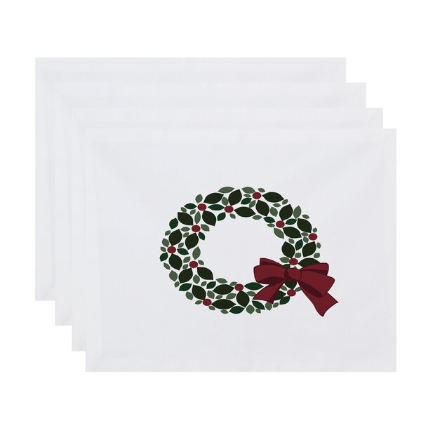 Holly Wreath Placemat (Set of 4) by The Holiday Aisle