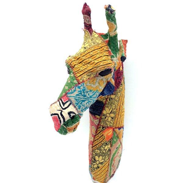 Vintage Sari Fabric Giraffe Head Wall Décor by KMP GIFTS
