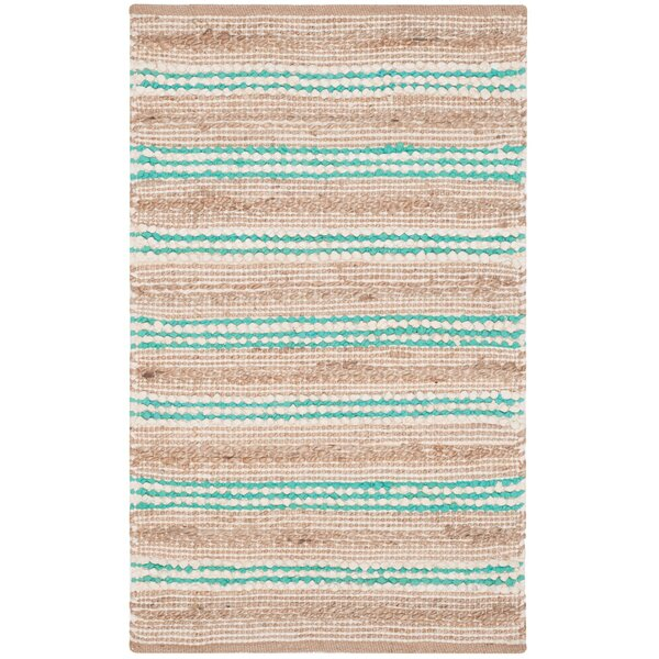 Arria Hand-Woven Natural/Turquoise Cotton Area Rug by Highland Dunes