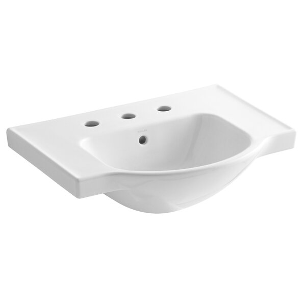 Veer Ceramic 24 Pedestal Bathroom Sink with Overflow by Kohler