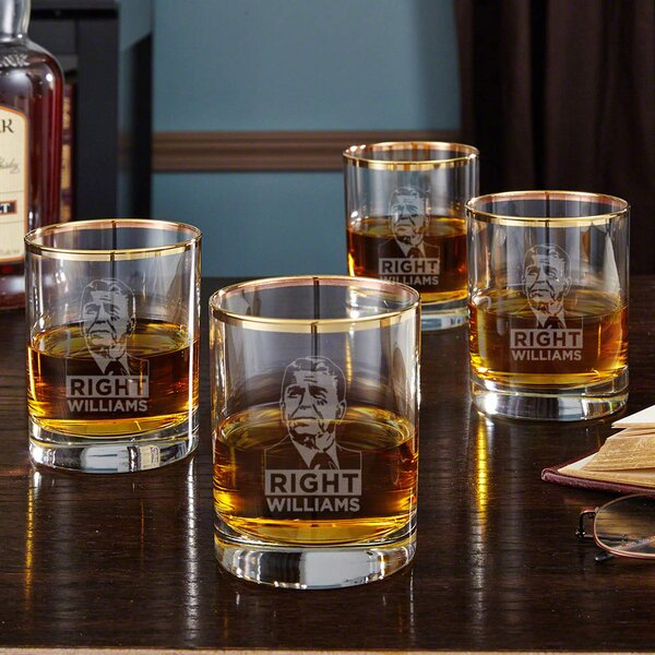 Reagan Right Gold Rim 10 oz. Old Fashioned Glass (Set of 4) by Home Wet Bar
