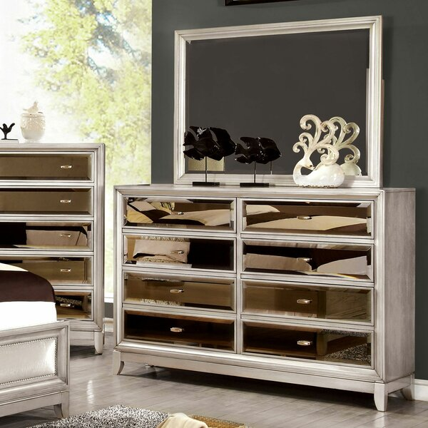Willisville 8 Drawer Double Dresser with Mirror by House of Hampton