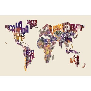 World Map Series: Typography I Graphic Art on Wrapped Canvas by East Urban Home