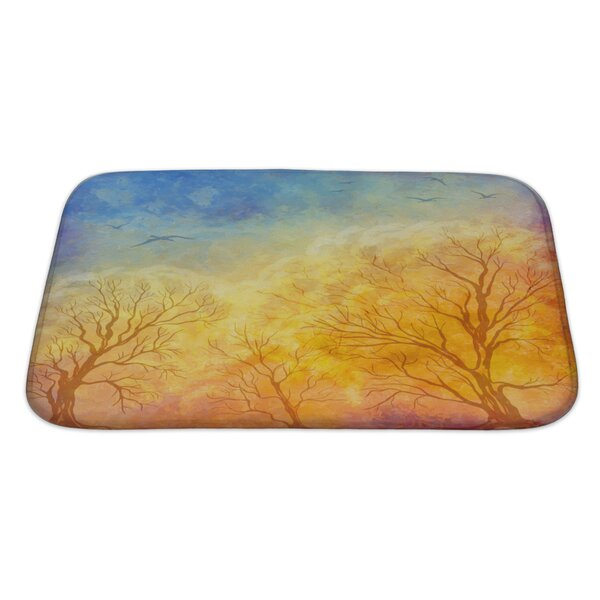 Kamp Autumn Landscape with Trees, Dramatic Sky, Migratory Birds Bath Rug