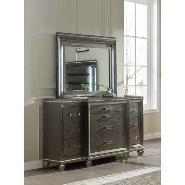 Garr 10 Drawer Standard Dresser with Mirror by Everly Quinn