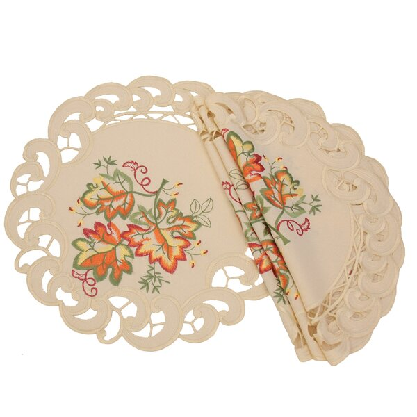 Thankful Leaf Embroidered Cutwork Fall Placemat (Set of 4) by Xia Home Fashions