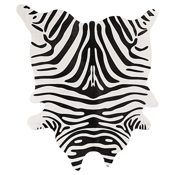 Grady Black/Off-White Zebra Cowhide Rug by Bloomsbury Market