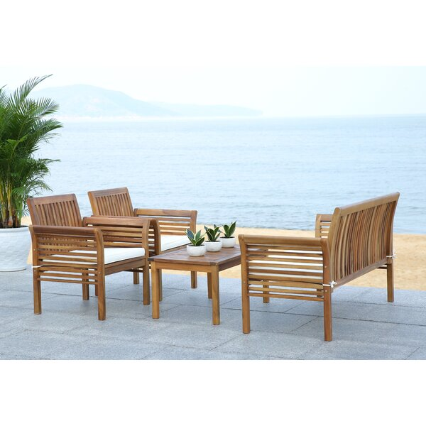 Glynn 4 Piece Sofa Seating Group with Cushions by Beachcrest Home