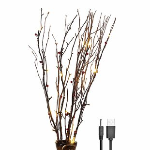 Natural Birch Branches Warm 20 Light LED Battery Lighted Branch