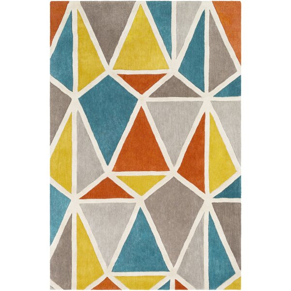 Vaughan Hand-Tufted Wool Aqua/Mustard Area Rug by Wrought Studio