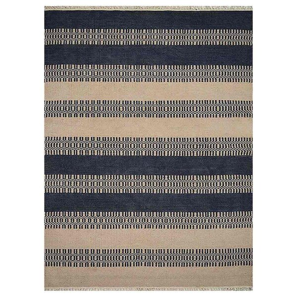 Sacramento Hand-Woven Aqua/Cream Area Rug by Breakwater Bay